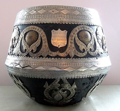 HUGE antique KERALA India Presentation Bowl, Anglo Indian, silvered applications
