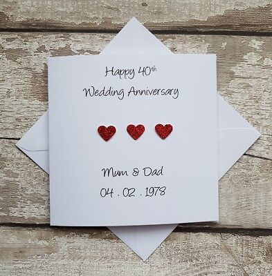 Handmade personalised 40th ruby wedding anniversary card for Grandparents