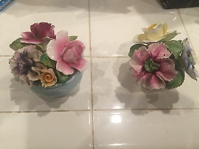 2 Vintage  Capodimonte Flowers - Beautiful!, some chips see photos