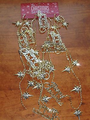 Merry Christmas Gold Colored Star Bead Christmas Garland NEW 9 Ft.  Decor