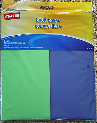 Book Cover  Blue and Green 2 Pack  STRETCHABLE Staples Brand