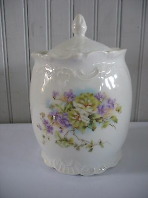 ANTIQUE VICTORIAN PORCELAIN BISCUIT Barrel  JAR W LID VIOLETS FLORALS