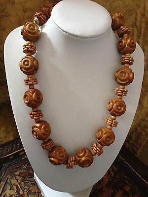 Antique Chinese Carved Wood/ Nut Necklace