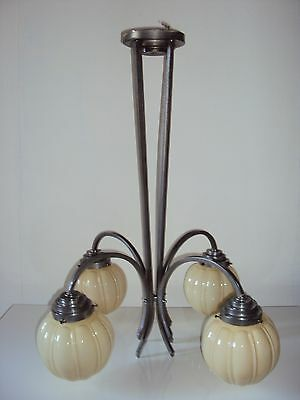 Suspension Luminaire Lustre Art Deco 4 Globes En Opaline Creme