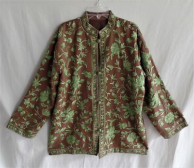 Handmade Ethnic Kashmir Taupe Wool Jacket with All Over Green Embroidery