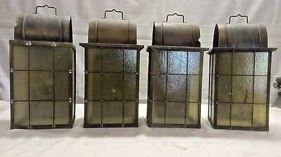 4- Vintage Gas Copper Slag Glass Porch Sconce Wall Light Fixture Set HV1