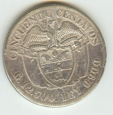 Colombia 1922 50 Cent Km274 !!! Silver!!!