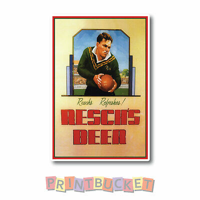 Reschs beer retro Rugby sticker Water/fade proof vinyl beer fridge man cave
