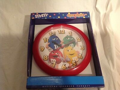 "M&M's WALL CLOCK,RED,NEW IN THE BOX,9""DIAMETER,RARE !!!!"