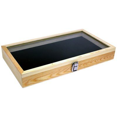 Natural Wood Glass Top Lid Black Pad Display Box Case Medals Awards Jewelry
