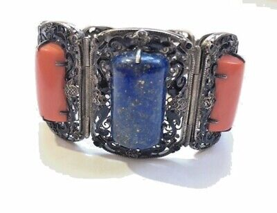 Antique Chinese Export Coral & Lapis Sterling Silver Enameled Filigree Bracelet