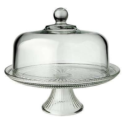 Anchor Hocking WEXFORD PEDESTAL CAKE STAND GLASS SALVER with DOMED COVER LID