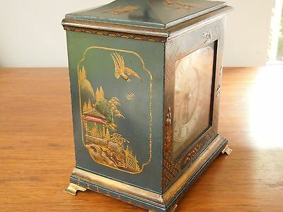 "Rare ""Blue"" Chinoiserie Laquered Mantel/Table clock, small size & original"