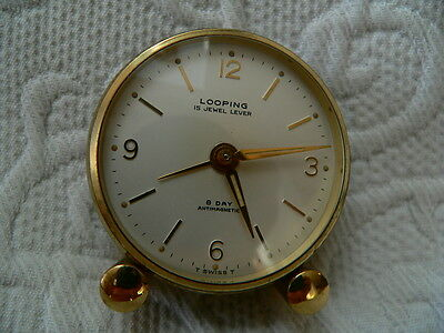 LOOPING SWISS CLOCK 15 Jewel 8 day LEATHER CASE - SERVICED RECENTLY