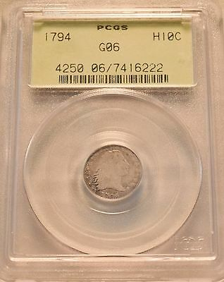 1794 H10C PCGS Good 6 Flowing Hair Silver Half Dime, RARE Date, Old Green Holder