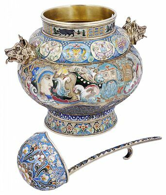 An Enamelled Silver-Gilt Bowl And Ladle, Russian Style