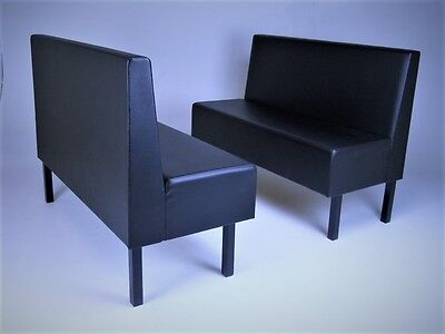 Set of two single restaurant booths, black upholstery with black steel legs