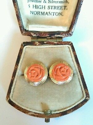 Vintage 18ct Gold Carved Coral Earrings. Excellent Condition