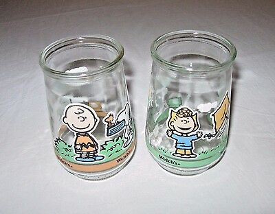 2 Peanuts Snoopy Charlie Brown Welch's Jelly Glasses