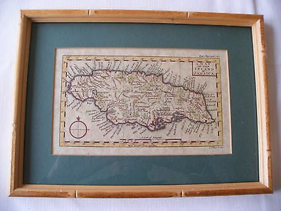 April 1762 A Map Of The Island Of Jamaica Framed Coloured Print Gent Mag Gibson