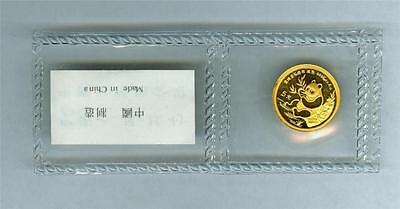 China 1991 5 Yuan 1/20 Oz. .999 Gold Panda Large Date Gem Bu With Usual Red Spot