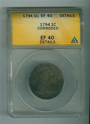 U.s. 1794 Liberty Cap Large Cent Anacs Ef-40 Details Corroded