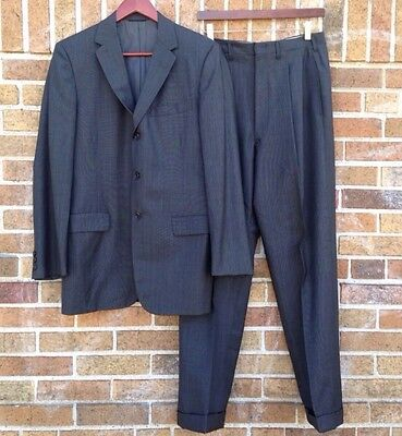 Vintage 50s 60s Charcoal 3 Button Suit Jacket With Pleated Pants Slacks Mens Med