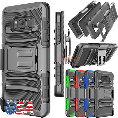 Fits Galaxy S8 plus Armor Shockproof Heavy Hard Stand Phone Case Cover + Holster