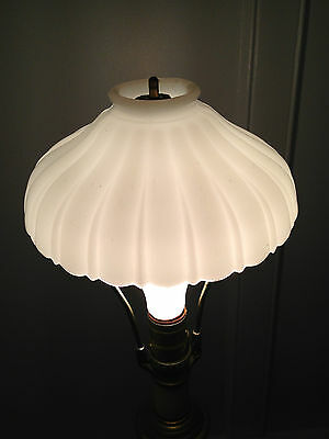 "Antique Opaque White Clam-broth Glass Lamp Lighting Shade Rayed Ribbed 7"" wide"