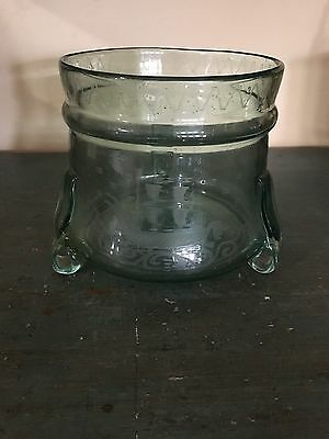 Beautiful Antique Vintage Footed Green Bubble Glass Bowl Etched Ship Applied Ft.