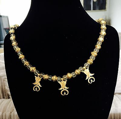 BEAUTIFUL Ancient Greek Gold and Crystal Necklace With Three Amulet