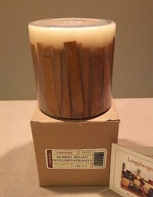 NIB Longaberger 2003 RARE Hostess Only 'Basket Splint' Inclusion Candle Vanilla