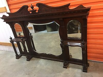 Substantial Antique Carved Mahogany Over Mantle Mirror circa Late 1800's
