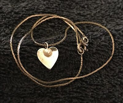 """Sterling Silver ~2 grams """"Pearl"""" on Heart Chain Necklace 15"""""""