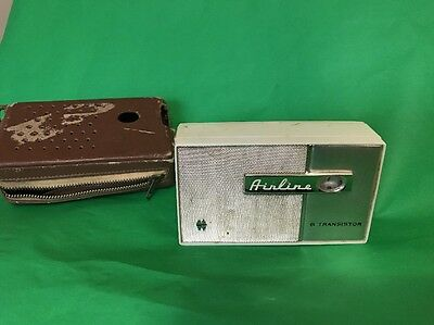 Vintage 1960's Airline 6 Transistor Radio with leather case Model 1202 - Working