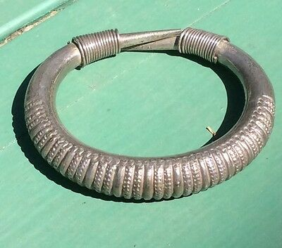 Vintage Early 60's Miao Tribal Hmong Silver Bangle Bracelet