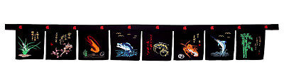 large 8 panel sushi noren valance curtains embroidery restaurant bar sign - 02