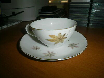 """Royal Ming China Tea Cup """"leaves"""" Pink Green Gold Rimmed Saucer Made In Japan"""