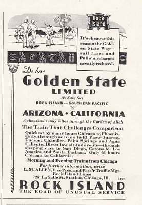 1934 Rock Island Railway: Golden State Limited (21101) Print Ad