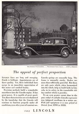 1932 Lincoln V-8 Cylinder: Two Window Town Sedan (4153) Print Ad