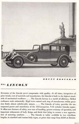 1934 Lincoln Brunn Brougham: Never Compromise With Quality (6860) Print Ad