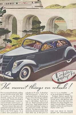 1937 Lincoln Zephyr V-12: Newest Things on Wheels (5742) Print Ad