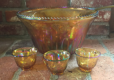 Indiana Glass #7447 Carnival Glass Punch Bowl, Glasses & Ladle!!!