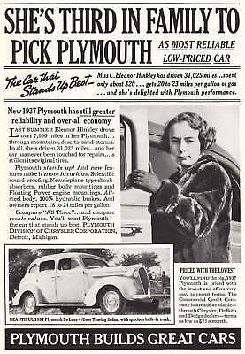 1937 Plymouth: Third in Family (6878) Print Ad