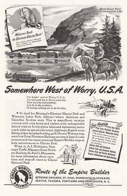 1946 Great Northern Railway: Somewhere West of Worry (18403) Print Ad