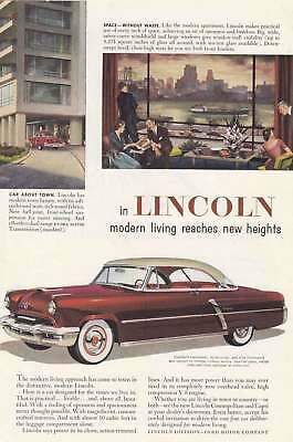 1952 Lincoln: Car About Town, Space Without Waste (7740) Print Ad