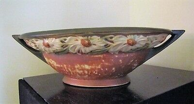 """VINTAGE ROSEVILLE DAHLROSE 10"""" x 6"""" x 3""""  OVAL BOWL GREEN AND TAN EXC"""