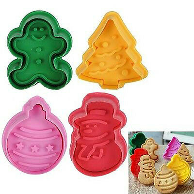 4Pcs Pastry Cookies Cutter Plunger Christmas Tree Shape Cake Fondant  Mold Gift