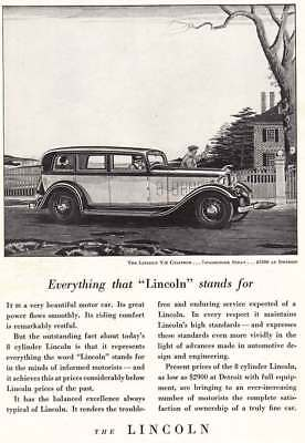 1932 Lincoln V-8 Cylinder: Everything That Lincoln Stands For (4152) Print Ad