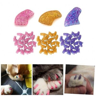 20Pcs Lovely Cat Nail Covers Pet Soft Rubber Claw Paws Nail Caps Adhesive Glue